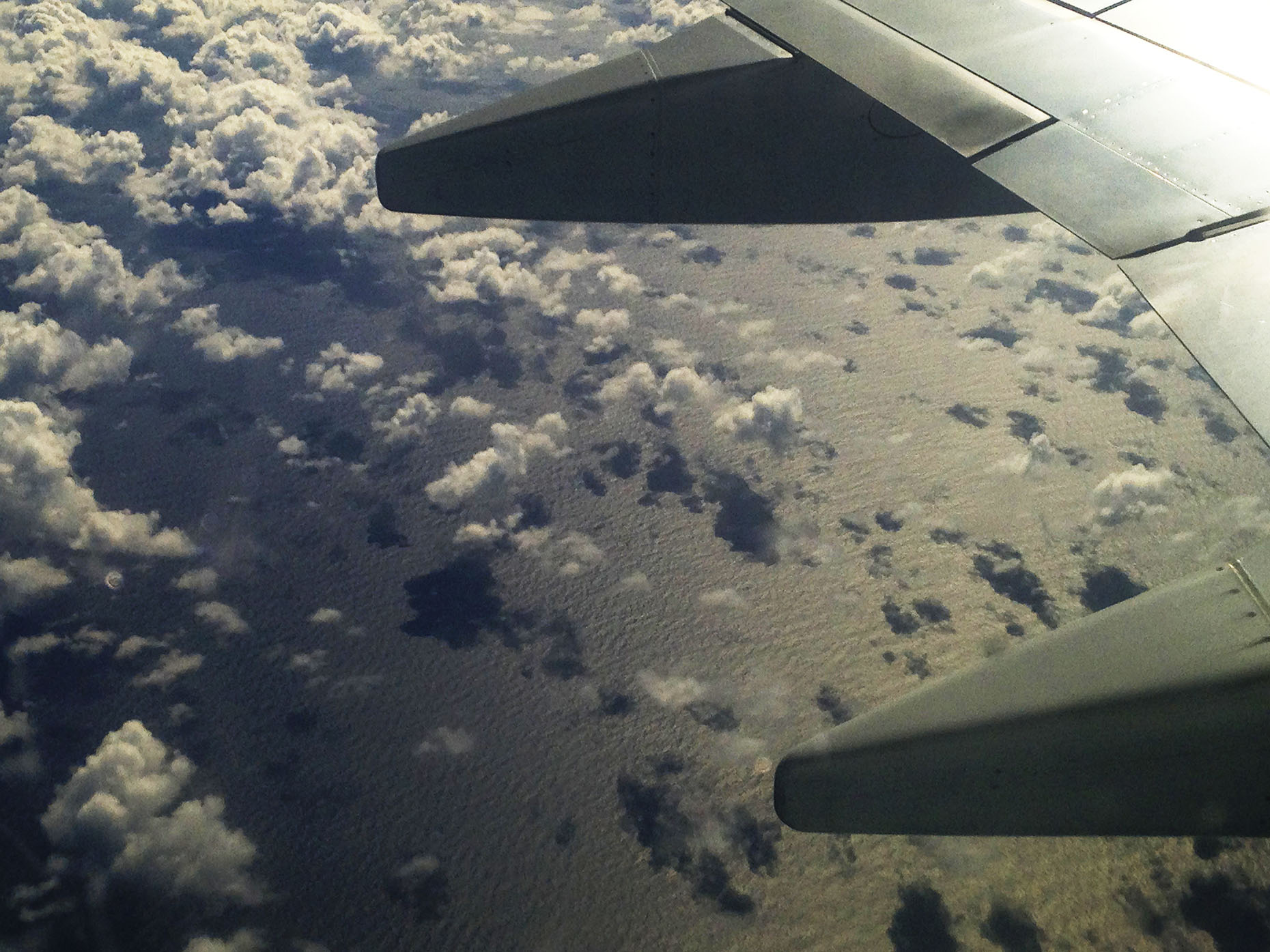 Flying over the Pacific Ocean